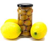 Sağlıklı gıda - zeytin ve limon — Stok fotoğraf