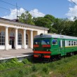 Electric local train at the platform in rural areas — Stockfoto