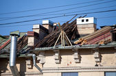 Repair of a roof on the city buildin — 图库照片
