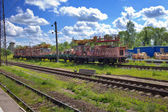 The auxiliary working train at station in rural areas — Stock Photo