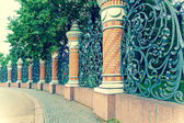 Fence of the Mikhailovsky Garden. St. Petersburg, Russia,with a retro effec — Stock Photo