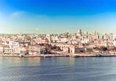 Havana. View of the old city through a bay from Morro's fortress,with a retro effect — Stock Photo