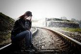 Adolescente deprimida y solitaria — Foto de Stock