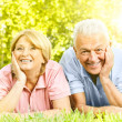 Smiling senior couple relaxed — 图库照片