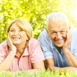 Smiling senior couple relaxed — Stock Photo