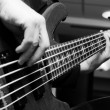 Musician playing on bass guitars — Stock Photo