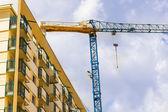 Konstruktion kran med byggnad — Stockfoto