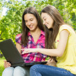 Smiling female students using laptop — Stock Photo #26079115