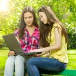 Smiling female students using laptop — Stock Photo
