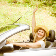 Beautiful woman in the car — Stock Photo