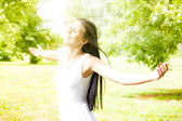 Happiness young woman enjoyment in the nature — Stock Photo