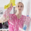 Woman washing the window glass — Stockfoto