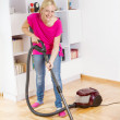 Young Woman Cleaning Home — Stock Photo