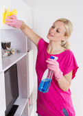 Woman cleaning home — Stock Photo