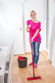 Beauty Woman Cleaning Home — Stock Photo