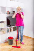 Happy Woman Cleaning Home — Stock Photo