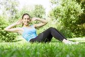 девушка счастлива фитнес упражнения — Стоковое фото