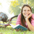 Happy student girl relaxing — Stock Photo