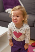 Sad unhappy crying little girl — Stock Photo