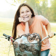 Happy Student Girl With Bicycle — Stock Photo