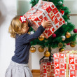 Little Girl Holding a Christmas Gift — Stock Photo #40502937