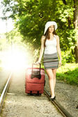 Attractive woman traveling  — Stock Photo