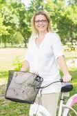 Happy Woman on the Bike — Stock Photo