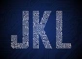Placa de circuito letras — Vetorial Stock