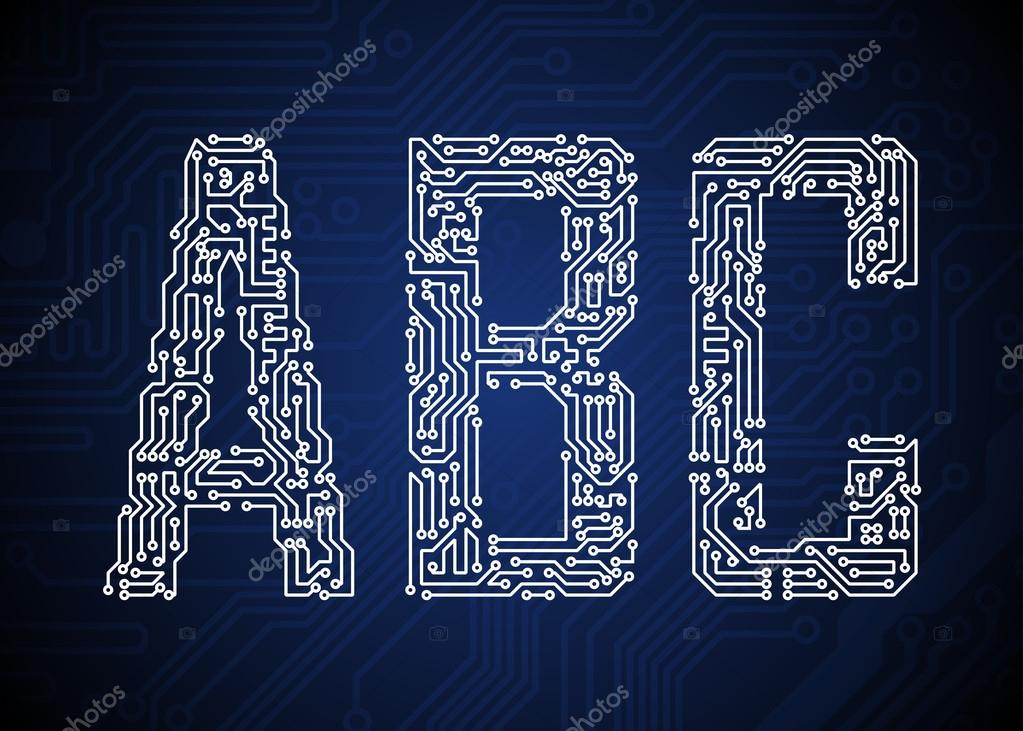 Set of Circuit board style letters — Stock Vector #13475360