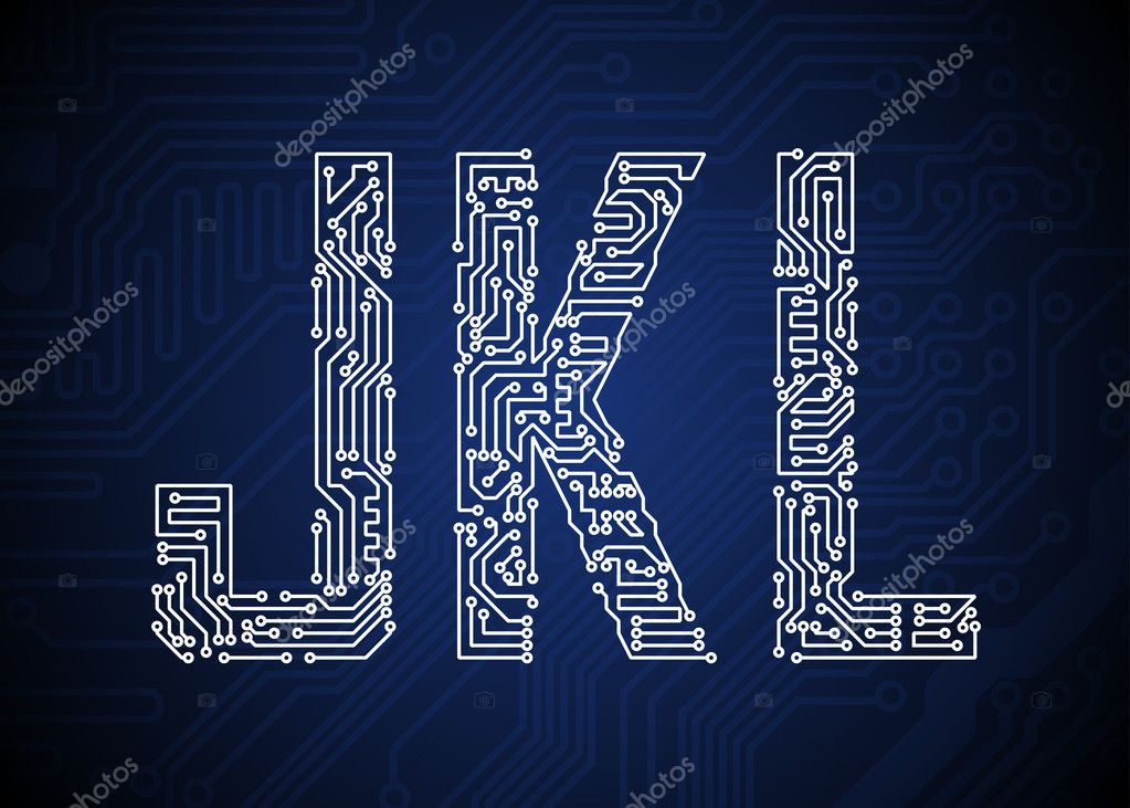 Set of Circuit board style letters — Stock Vector #13475568