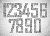 Dígitos de la placa de circuito — Vector de stock