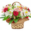 Basket with flowers — Stock Photo