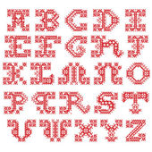 Embroidered alphabet — Stok Vektör