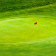 Red Flag on Golf Green — Stock Photo