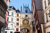 Half-Timbered Houses and Great Clock at Rouen, Normandy, France — Stock Photo