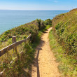 Path along the coastline in carteret,  normandy, france - Stock Photo