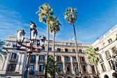 Palm trees at Placa Reial, Barcelona — Stock Photo