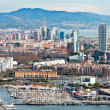 Aerial view of Port Vell in Barcelona - Stock Photo