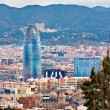 Aerial view of Barcelona with the Montseny Mountain in the backg — Stock Photo