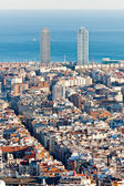 Barcelona aerial view showing prominets twin towers — Stock Photo