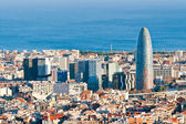Aerial view of financial district in Barcelona — Stock Photo