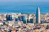 Barcelona'da finans bölgesi havadan görünümü — Stok fotoğraf