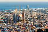 BARCELONA - JULY 10: Aerial view of the Sagrada Familia, Antoni — Stock Photo