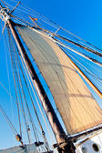 Old Schooner mast, sail and Rope — Stock Photo