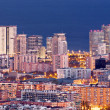 Aerial view of financial district in Barcelona at Blue Hour — Stock fotografie