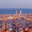 Stockfoto: Barcelonskyline panoramat Blue Hour