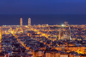 Barcelona skyline panorama at night — Stock Photo