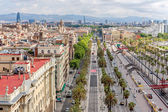 Aerial view of Passeig de Colom and the skyline of Barcelona, Sp — Stock Photo