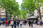 BARCELONA, SPAIN - MAY 2: Las Ramblasl on May 2, 2014 in Barcelo — Stockfoto