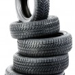 Stock Photo: Tires on the white background
